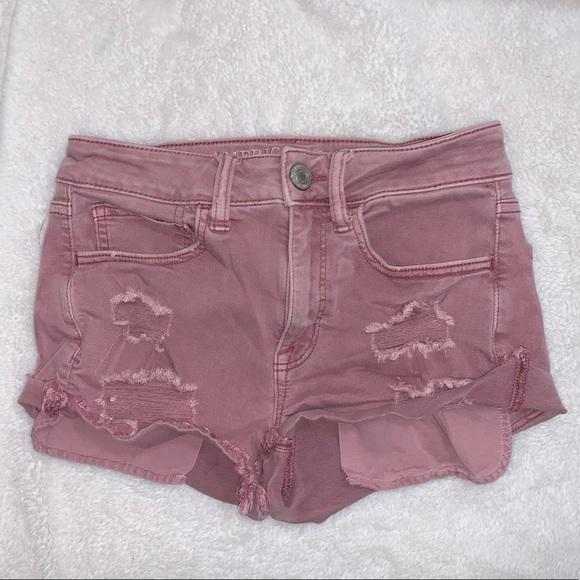 Dusty Rose High Rise Jean Shorts (A.E.O)